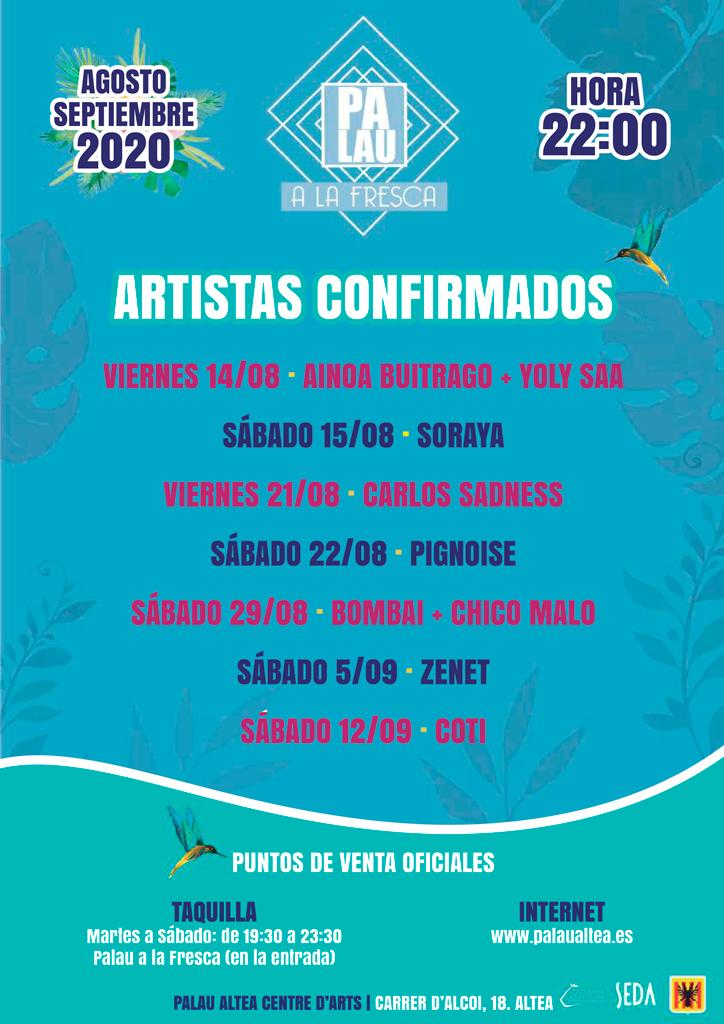 """Carlos Sadness, Zenet i Coti tanquen el cartell de la programació de concerts d'artistes nacionals de """"Palau a la fresca"""" a Palau Altea Centre d'Arts"""
