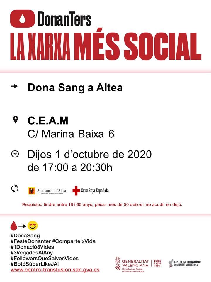 El próximo jueves,  1 de octubre, tendrá lugar una nueva jornada de donación de sangre en Altea. Puedes colaborar en horario de tarde de 17:00 a 20:30 horas en el CEAM (c/Marina Baixa, 6). ¡Anímate y salva vidas!