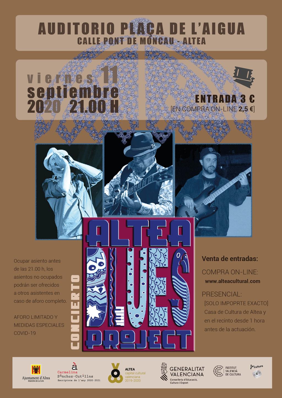 'Altea Blues Project' actuará en el Auditorio Plaça de l'Aigua de Altea el viernes 11 de septiembre, a las 21:00 horas. La entrada tiene un precio de 3€ en taquilla y 2'50€ a través de www.alteacultural.com. Recuerda que hay aforo limitado, ¡no te quedes sin tu entrada!