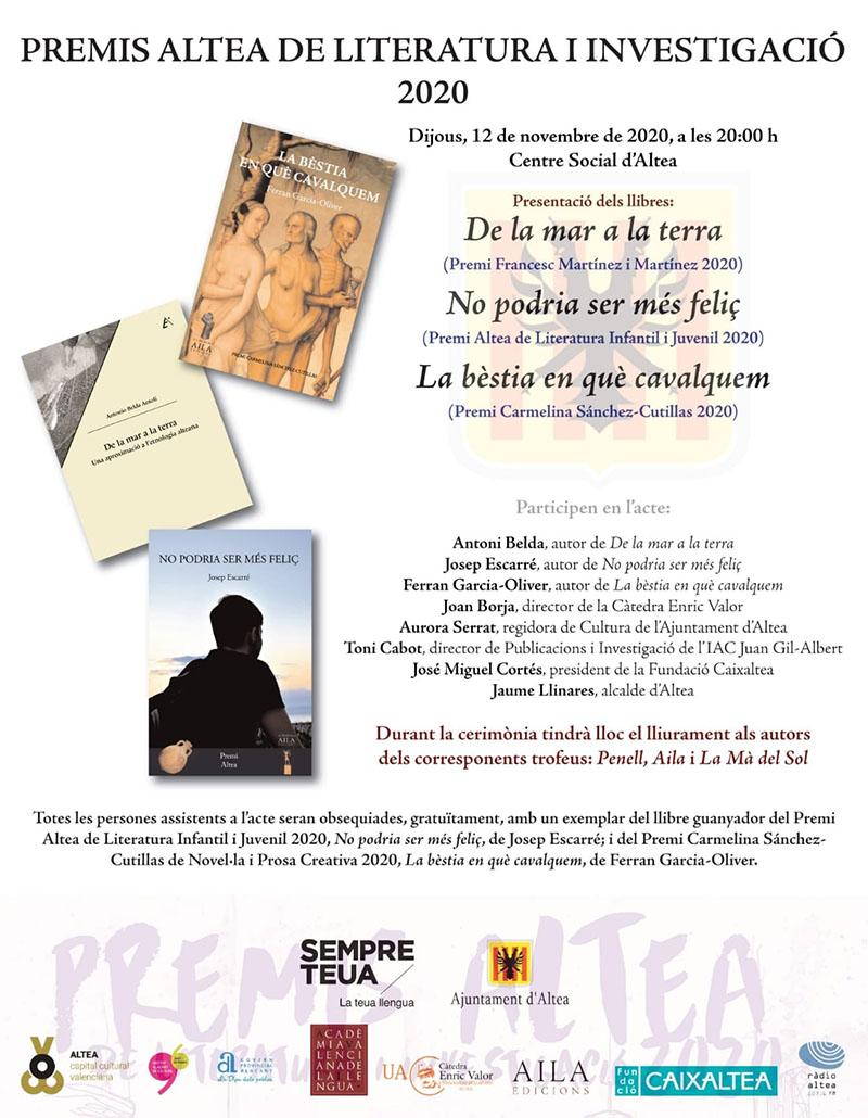 """Los """"Premis Altea de Literatura i Investigació"""" presentan la edición de las obras ganadoras"""