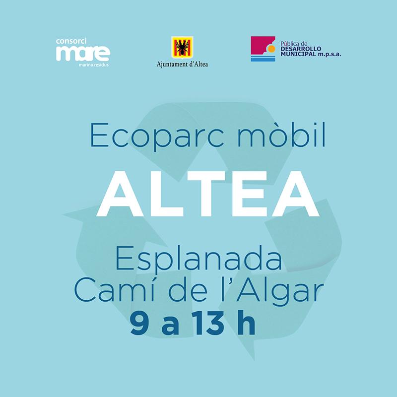 Este dissabte 10 d'abril, deposita els residus que no pots tirar al contenidor a l'Ecoparc Mòbil d'Altea, situat a l'Esplanada Camí de l'Algar, en horari de 09:00 a 13:00 hores.