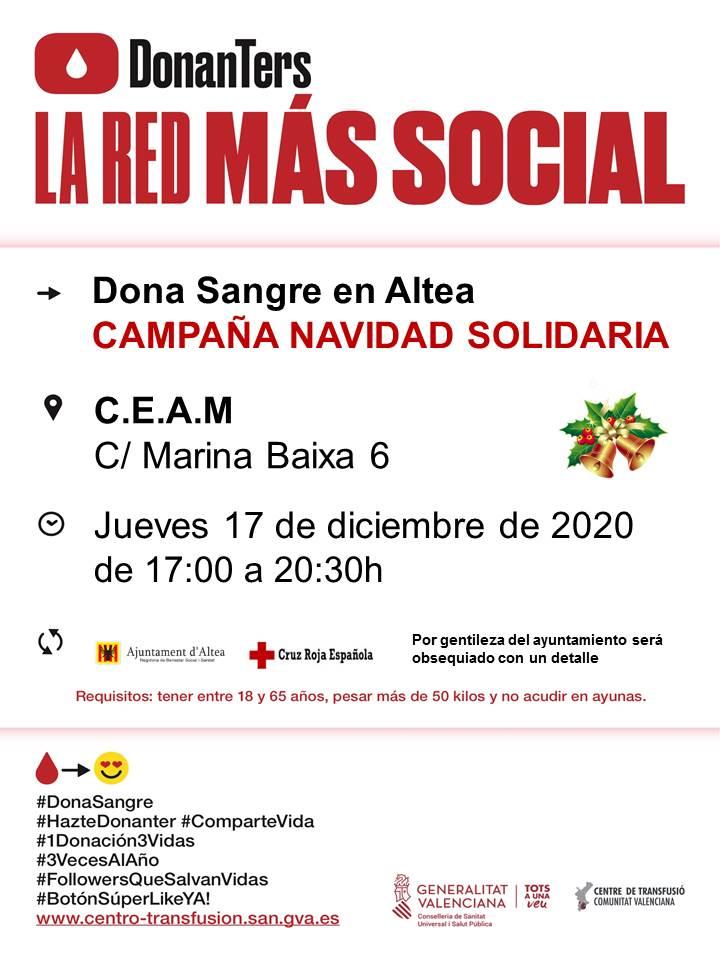 Dóna sang en la Campanya de Nadal Solidari del pròxim dijous 17 de desembre, de 17:00 a 20:30 hores, en el CEAM d'Altea. Anima't i salva 3 vides!