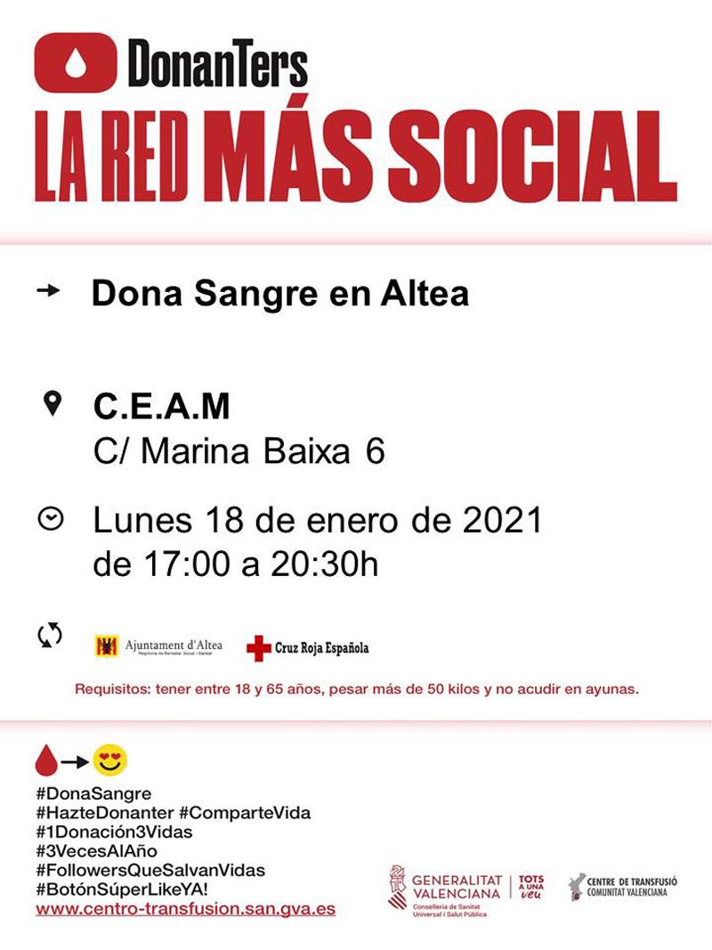 El pròxim dilluns, 18 de gener, de 17:00 a 20:30 hores, tindrà lloc una nova jornada de donació de sang al CEAM d'Altea (c/ Marina Baixa, 6). Anima't i salva vides!