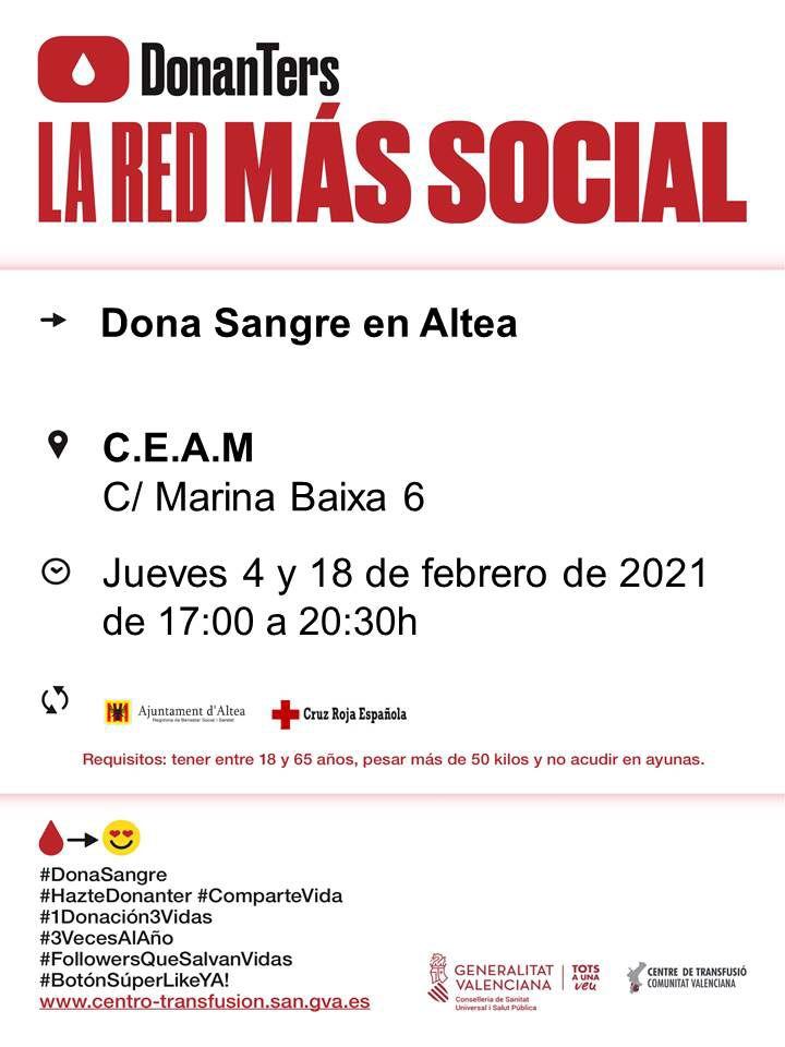 Nueva donación de sangre en Altea, los próximos jueves 4 y 18 de febrero en el CEAM, de 17:00 a 20:30h.