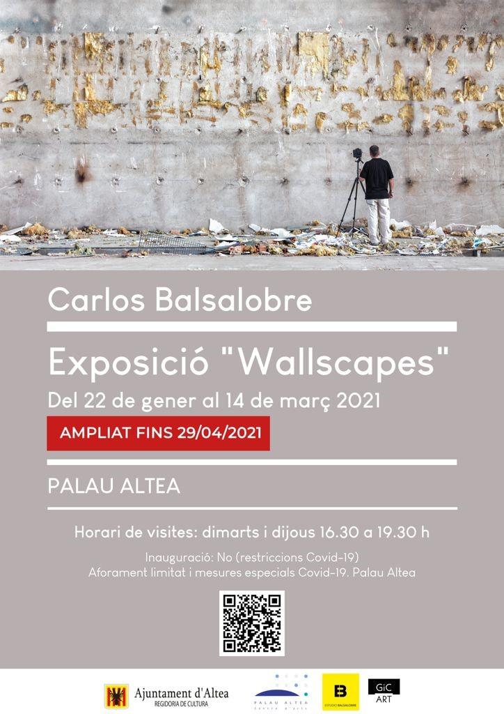 """S'amplia fins al 29 d'abril l'exposició de """"Wallscapes"""" a càrrec de Carlos Balsalobre a Palau Altea. L'horari de visites és dimarts i dijous de 16:30 a 19:30."""