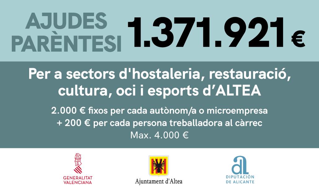 Altea avanza en la gestión de las ayudas Paréntesis en colaboración con Generalitat y Diputación