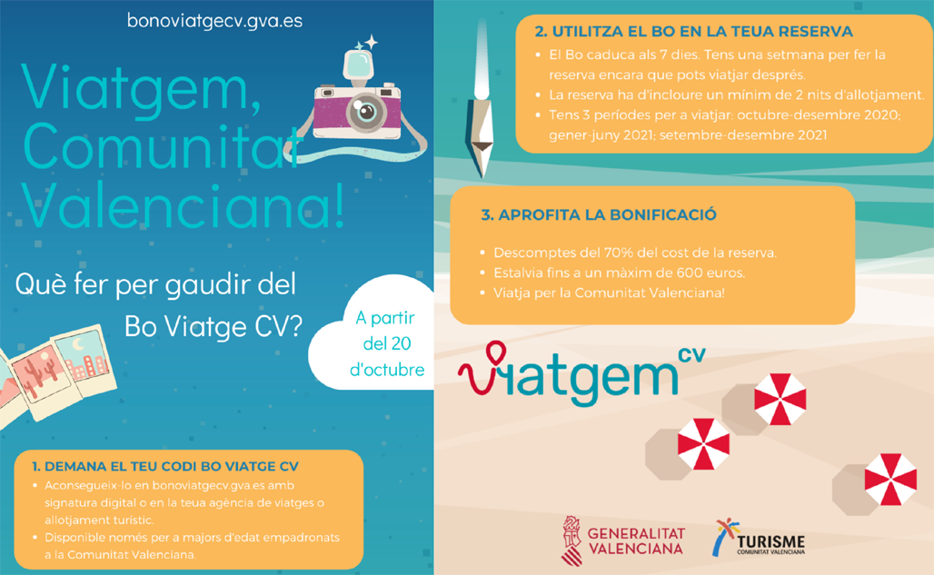 Turisme anuncia els nous terminis per a adherir-se al programa Bo Viatge Comunitat Valenciana