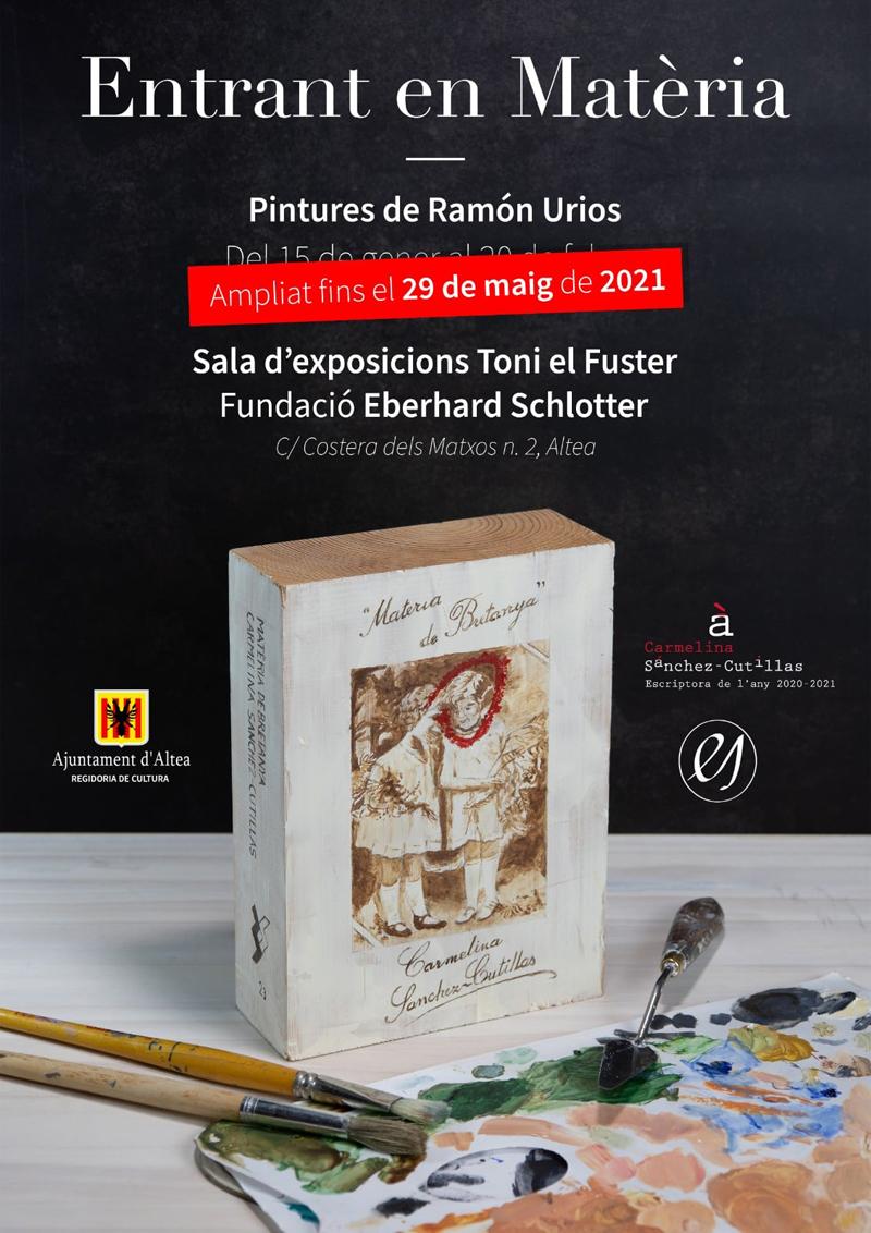 """Ampliat el temps d'exposició d'""""Entrant en Matèria"""" de Ramon Urios fins al 29 de maig. Poden visitar la mostra en la sala Toni el Fuster de dilluns a divendres d'11 a 14 hores i de 17 a 20 hores i dissabtes d'11:30 a 13:30 hores."""