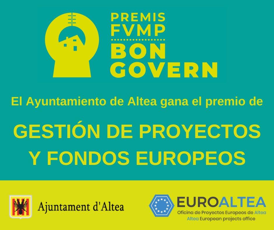 El Ayuntamiento recibe el premio Buen Gobierno a la Gestión de proyectos y fondos europeos
