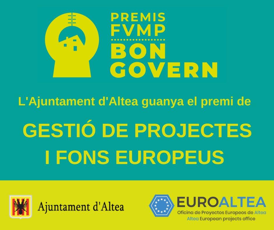 L'Ajuntament rep el premi Bon Govern a la Gestió de projectes i fons europeus