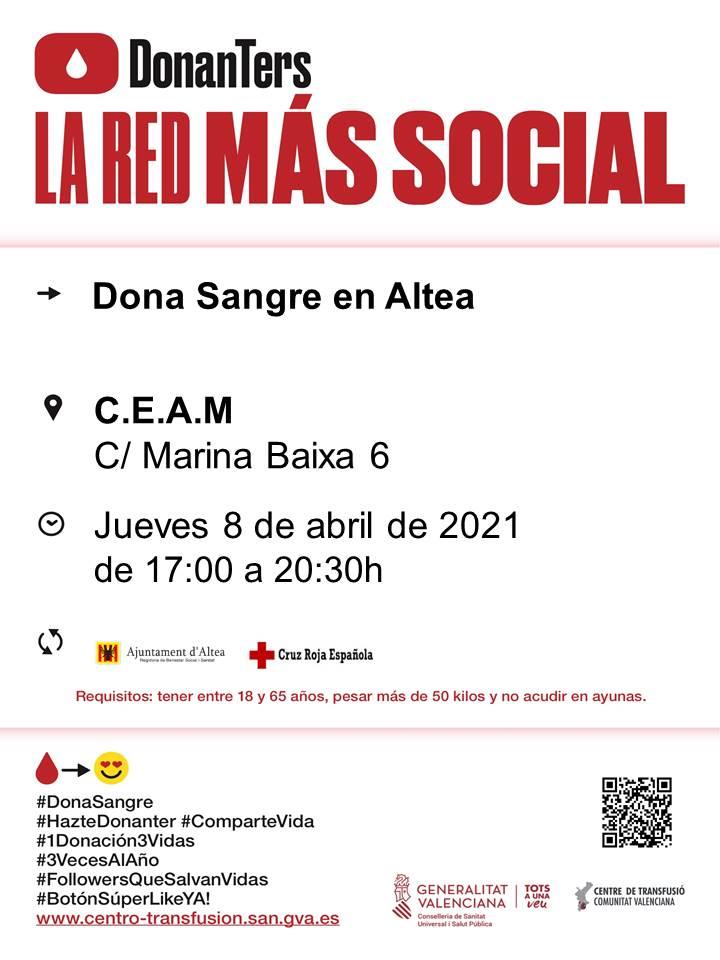 El pròxim dijous, 8 d'abril, de 17:00 a 20:30 hores, tindrà lloc una nova jornada de donació de sang al CEAM d'Altea (c/ Marina Baixa, 6). Anima't i salva vides!