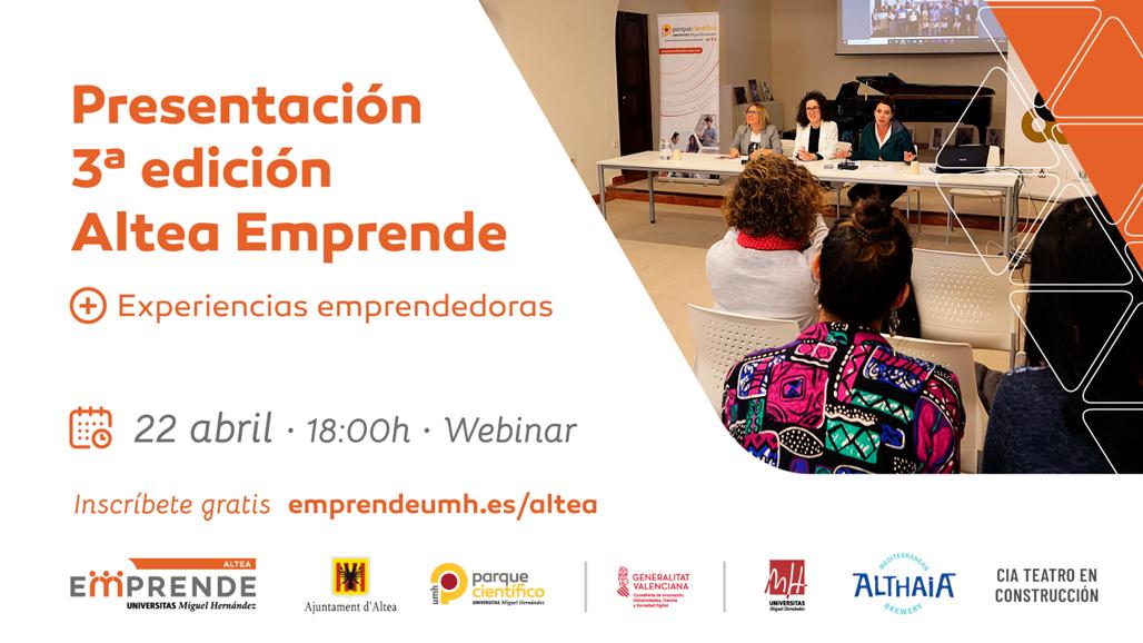 Altea Emprende presentarà la seua 3a edició amb una jornada sobre experiències emprenedores. L'acte es podrà seguir demà 22 d'abril des de les 18 hores en: https://youtu.be/f4aGX0TKXrw