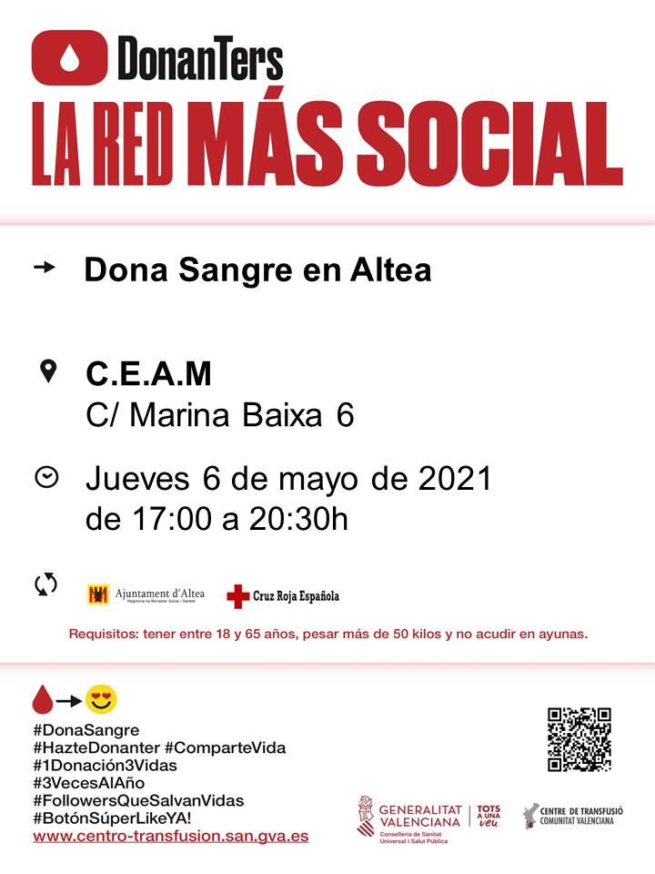 Nueva donación de sangre el jueves 6 de mayo en el CEAM de Altea (c/ Marina Baixa, 6), de 17:00 a 20:30h.